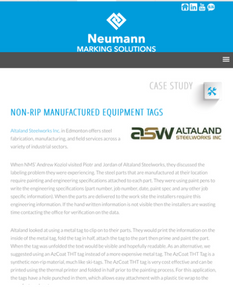 Neumann Marking Solutions Case Studies Page - various identification systems highlighted