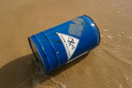 salt water label on drum